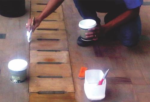 aplikasi Biocoat - water based Polyurethane dengan Kuas